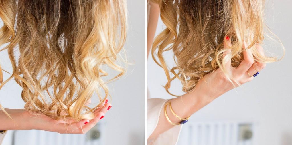 Cheveux blond effet wavy bouclé