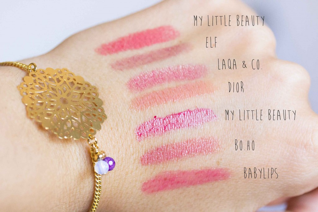 swatch rouges à lèvres dior elf my little beauty boho laqa&co