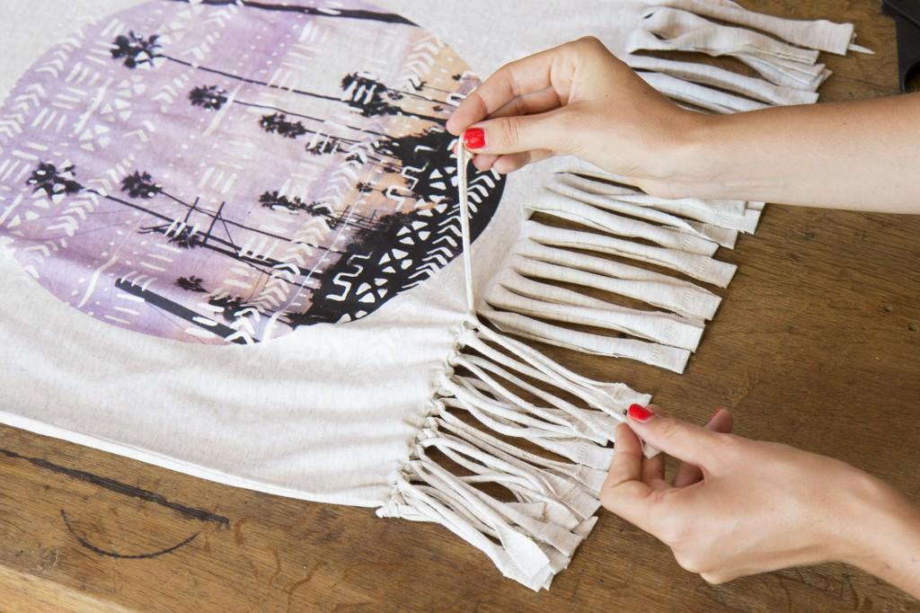 Sac bohème hippie DIY avec un t-shirt